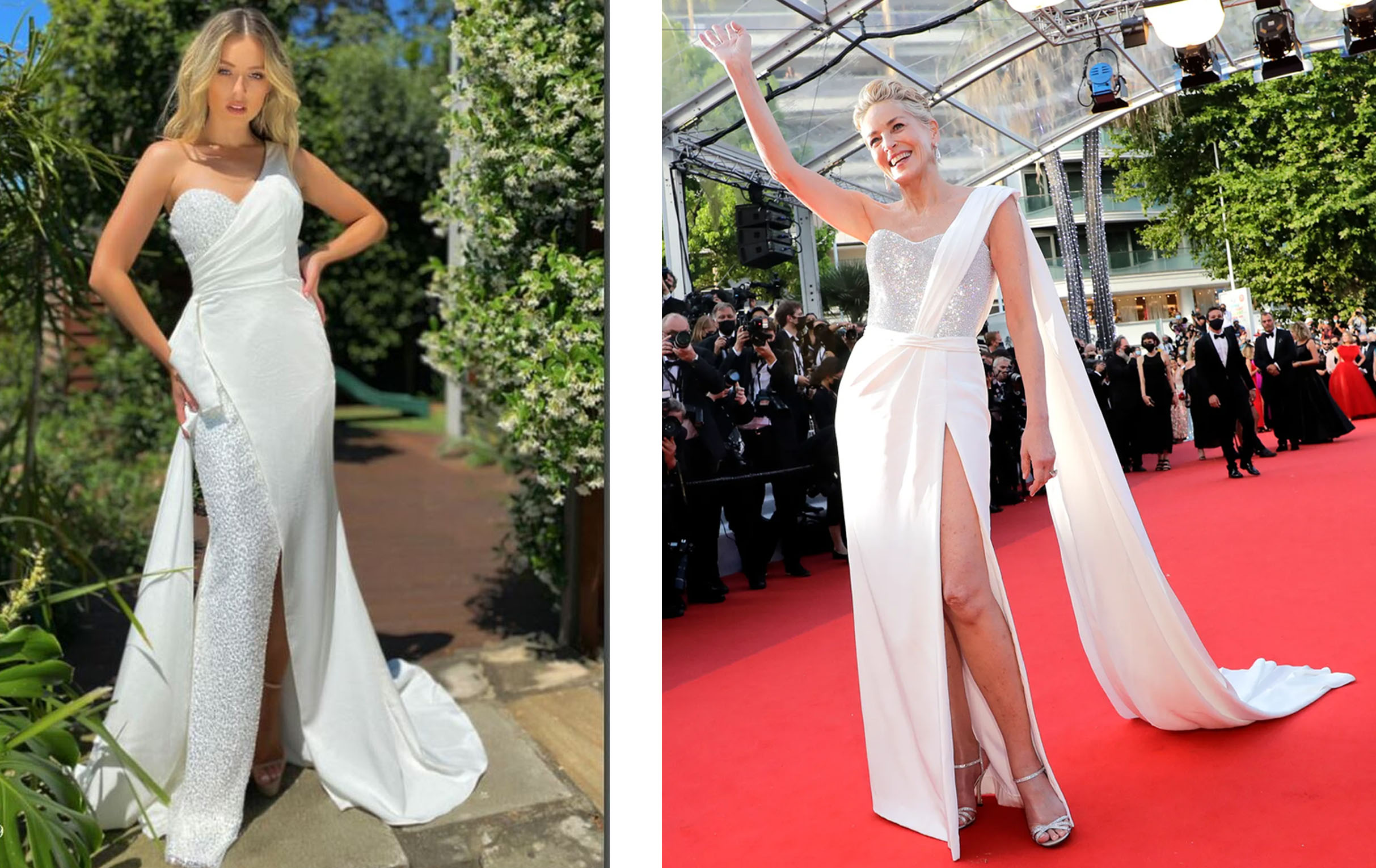 2021 Cannes Red Carpet at Fashionably Yours: Jadore's Nia Jx5009 vs Sharon Stone in Dolce and Gabbana
